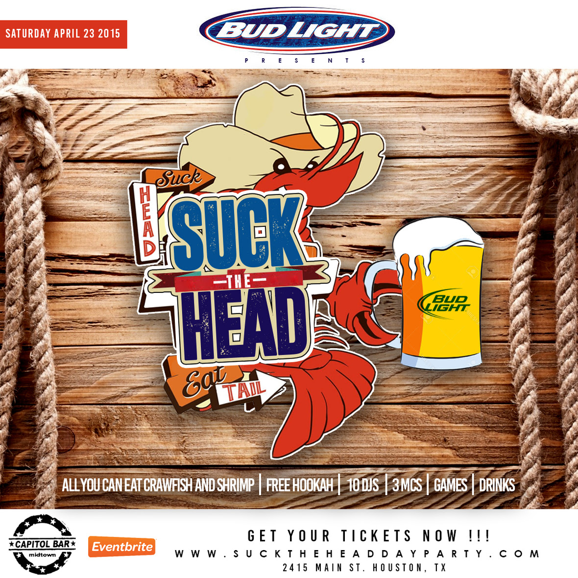 ˜�bud Light Presents Suck The Head Day Party★ All You Can Eat Crawfish