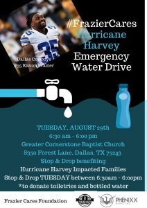 ... Frazier Cares have teamed up with the Greater Cornerstone Baptist Church and Attorney Elizabeth Frizell to help the victims of Hurricane Harvey.